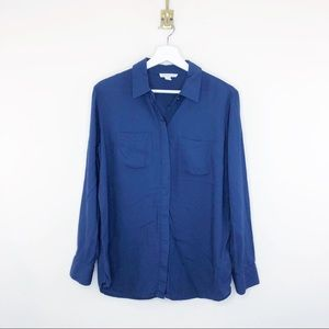 Beach lunch lounge Navy Split Back Button Down M